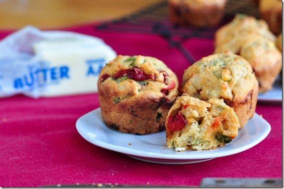 basil feta pepper muffins