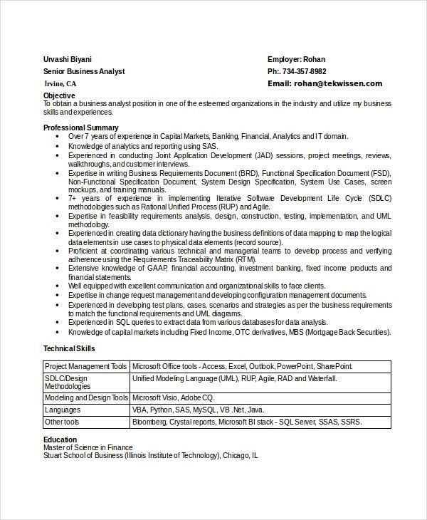 Business Analyst Skills Resume Excellent 8 Business Analyst Resumes Free Sample Example Forma Business Analyst Resume Business Analyst Resume Summary Examples