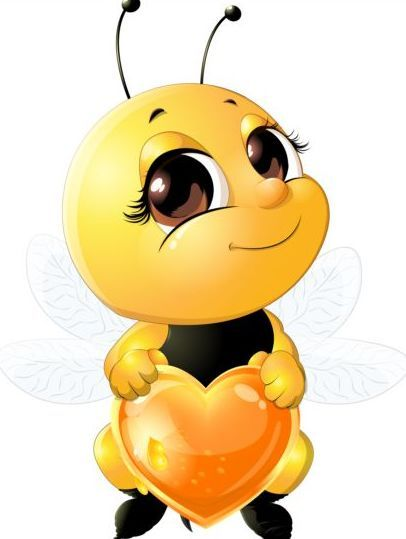 lovely cartoon bee set vectors 06 | эскизы | Pinterest ...