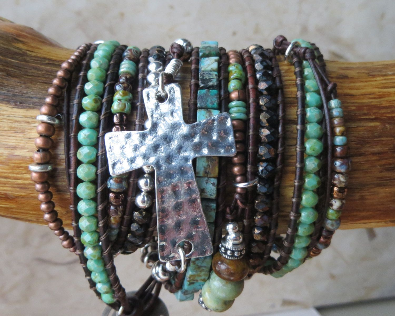 Cross Bracelet Wrap Beaded Religious