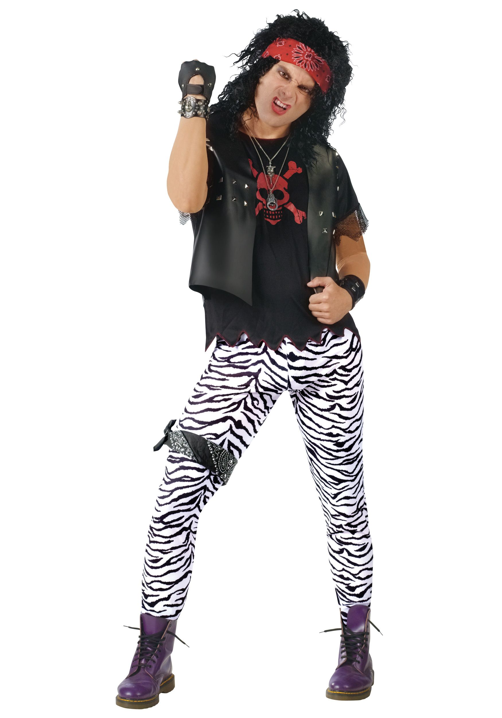 check out this fantastic pair of glam rock lycra trouserssand create your own hair band rock god look from our costume accessories range - 80s Rocker Halloween Costume
