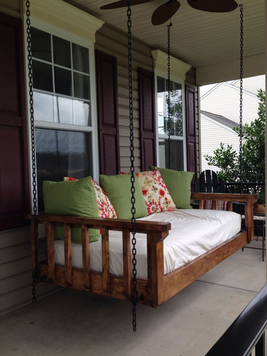 Turned An Old Twin Mattress Into The Best Couch Bed Swing Our Favorite Spot In All Seasons A Must For A Porch Porch Swing Bed Porch Bed Porch Swing