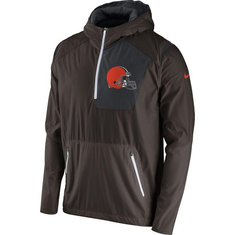 d377e153 Cleveland Browns Nike Vapor Speed Fly Rush Half-Zip Jacket - Brown ...
