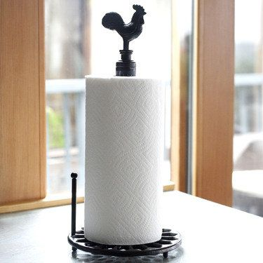 Wrought Iron Rooster Paper Towel Holder