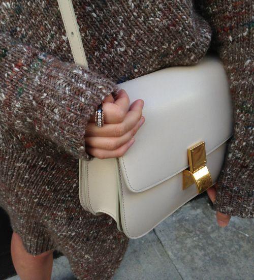 ivory celine box bag and stella mccartney chunky knit details  dd7013c3aa169