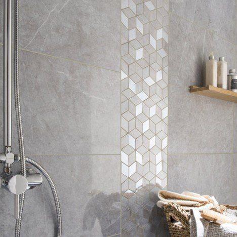 Mosaïque mur Murano hexa gris wc Pinterest - pose carrelage mural salle de bain