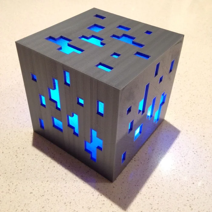 Minecraft Diamond Ore Lamp 3d Print 3d Printing Diy 3d Printer Designs Useful 3d Prints