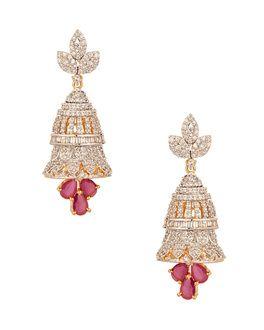 Earrings: Gold plated Zirconia Jhumka
