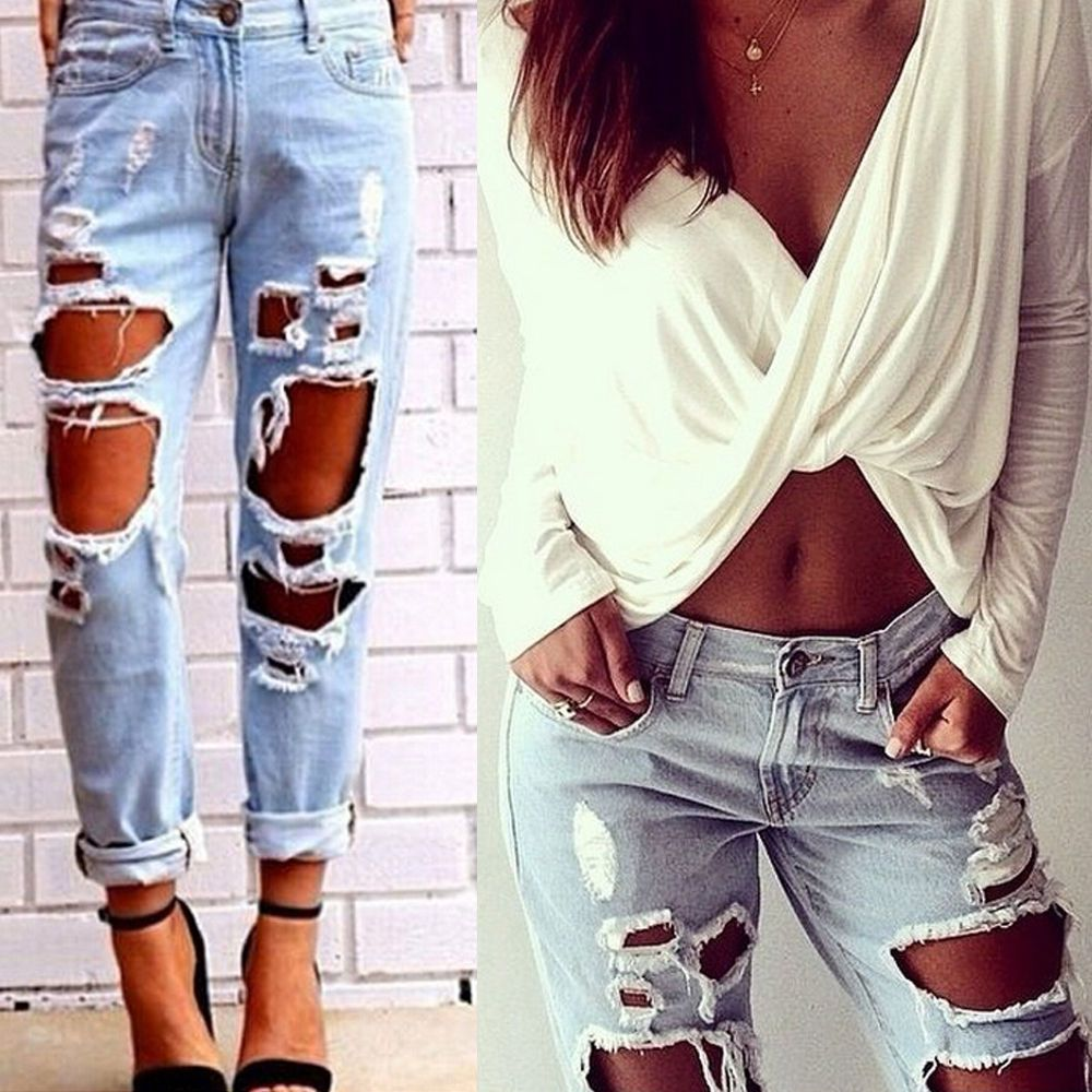 f0972048504 Retro Womens Sexy Ripped Boyfriend Hole Jeans Trousers Casual Loose Denim  Pants
