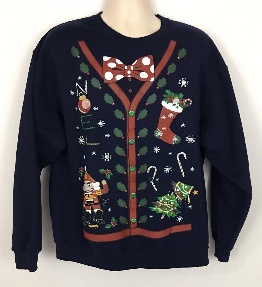 Men's Blue Ugly Christmas Sweater Print Sweatshirt Bowtie Stocking Trees Size XL #JERZEES #SweatshirtCrew