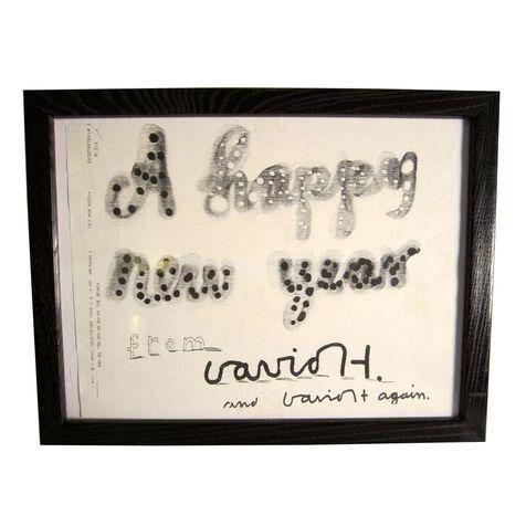 "David Hockney ""Happy New Year"" Facsimile on Chairish.com"