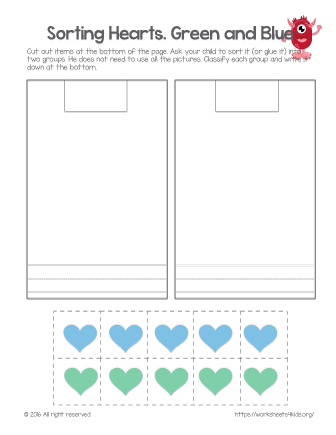 Sorting Hearts Green and Blue Free worksheets for kids