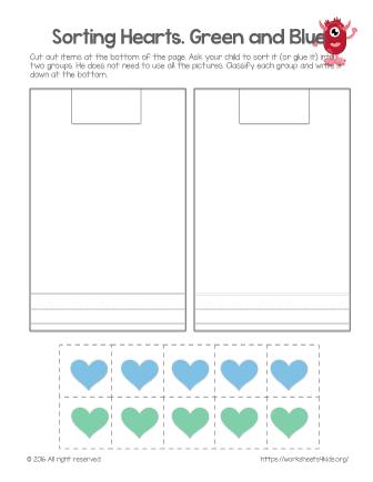 sorting hearts green and blue free worksheets for kids. Black Bedroom Furniture Sets. Home Design Ideas