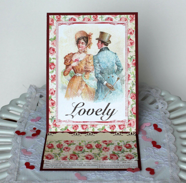 Handmade Love Card Anniversary Card Paper Handmade Vintage Style