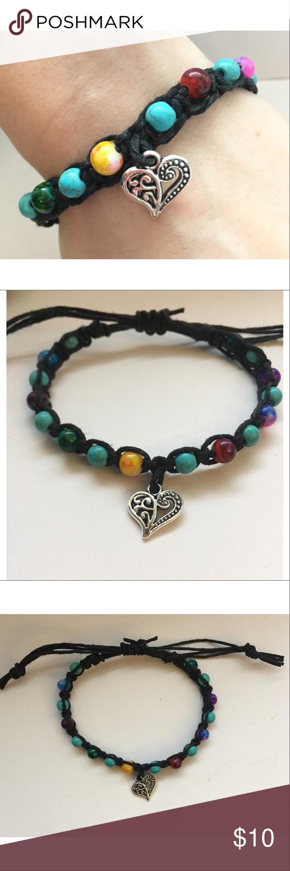 ✨🖤🌈Handmade Black Hemp Beaded Heart Bracelet Handmade black hemp multicolored beaded heart charm bracelet , 7 inches adjustable Jewelry Bracelets