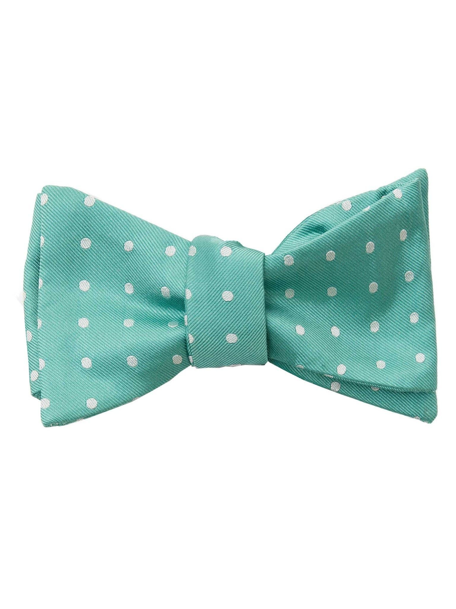 Silk Dot Green Self Tie Bow Tie