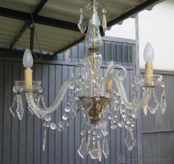 Antigua y preciosa lampara de cristal de 3 brazos - Lamparas cristal antiguas ...