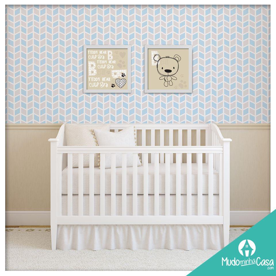 Neste Quarto De Beb Utilizamos O Papel De Parede Cubos E Poster  ~ Quarto De Bebe Parede Com Poster Decoração Quarto
