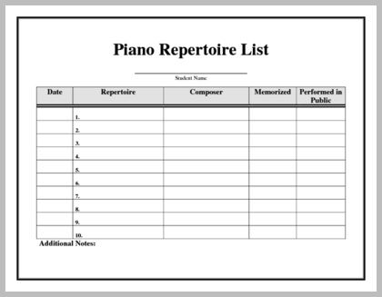 Piano Repertoire List Keep track of student performance-ready - lpo template word