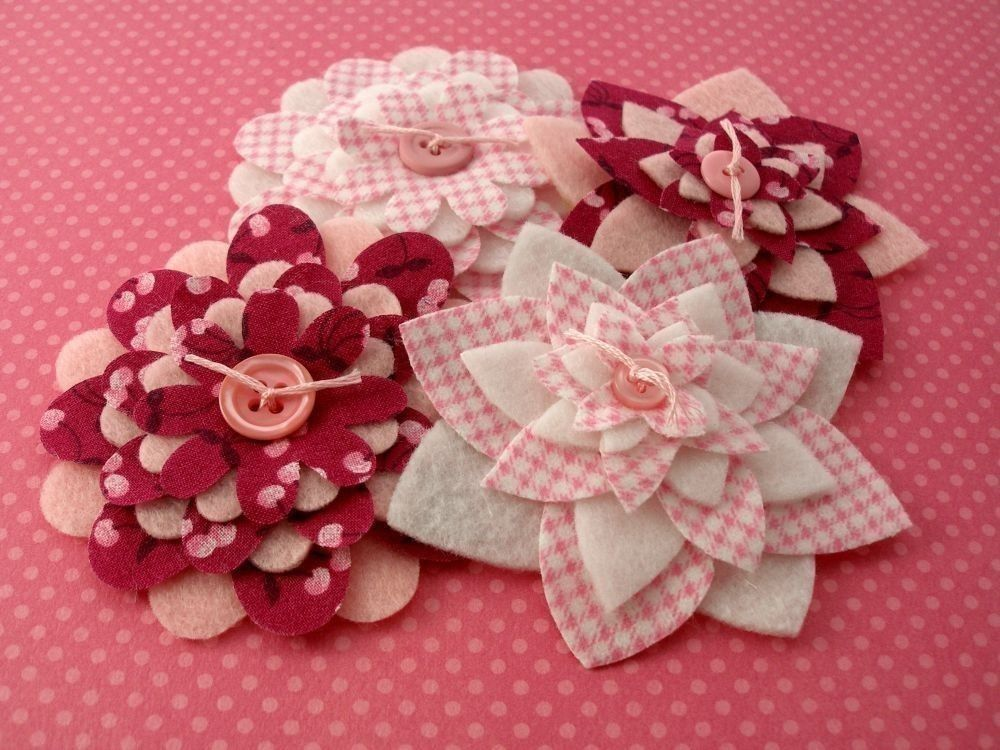 Pink Cherry Picnic Fabric and Felt Flowers by PrecociousPaper