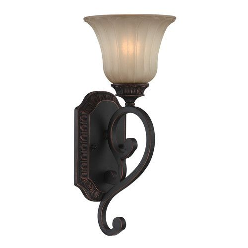 Lite source crescentia 1 light wide wall sconce with light amber gla antique bronze indoor lighting wall sconces