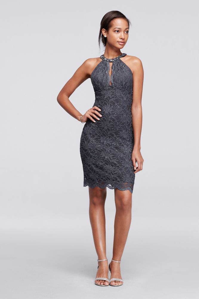 ee8a77ae56 Short Lace Dress with Beaded Halter Neckline - Charcoal