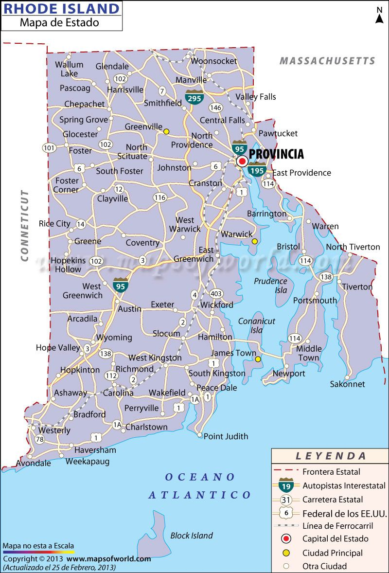 El Mapa del Estado de Rhode Island Estados Unidos de America