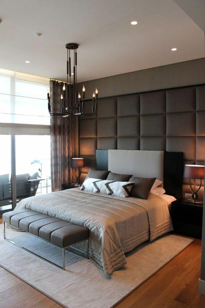 Schlafzimmer Ideen Wandgestaltung Stilvolle Wandgestaltung Heller Teppich  Schlafzimmerbank