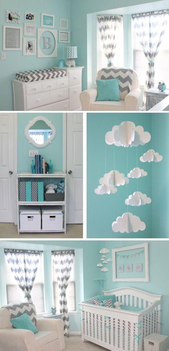 A aqua and gray chevron nursery featuring aqua walls and chevron accents throughout including curtains, bedding, blankets, lamp shade and changing cover.