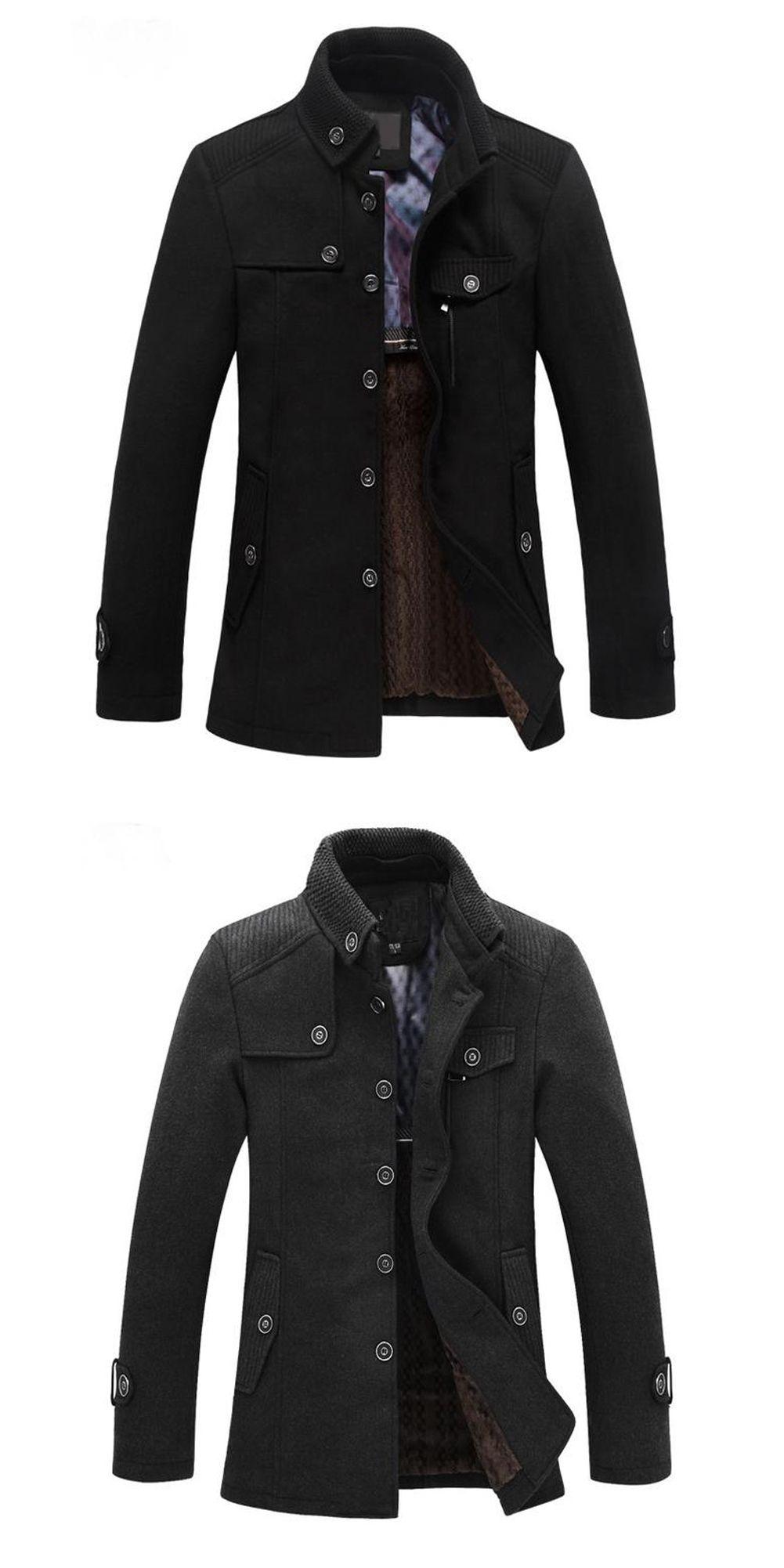 f9d48985452 SAF-Slim Fit Winter Trench Coat Wool Long Jacket Outerwear Overcoat ...