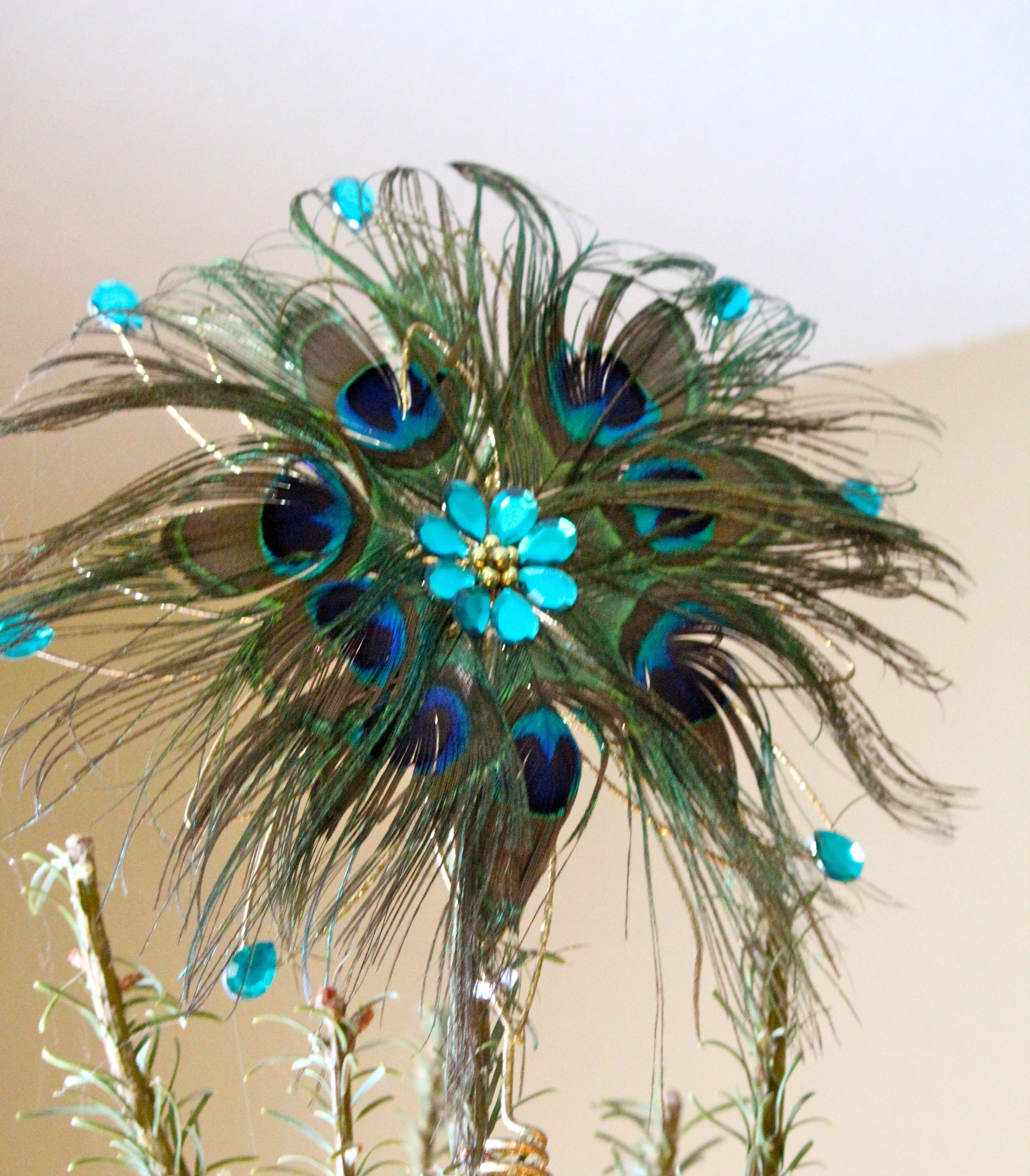 peacock colored christmas ornaments
