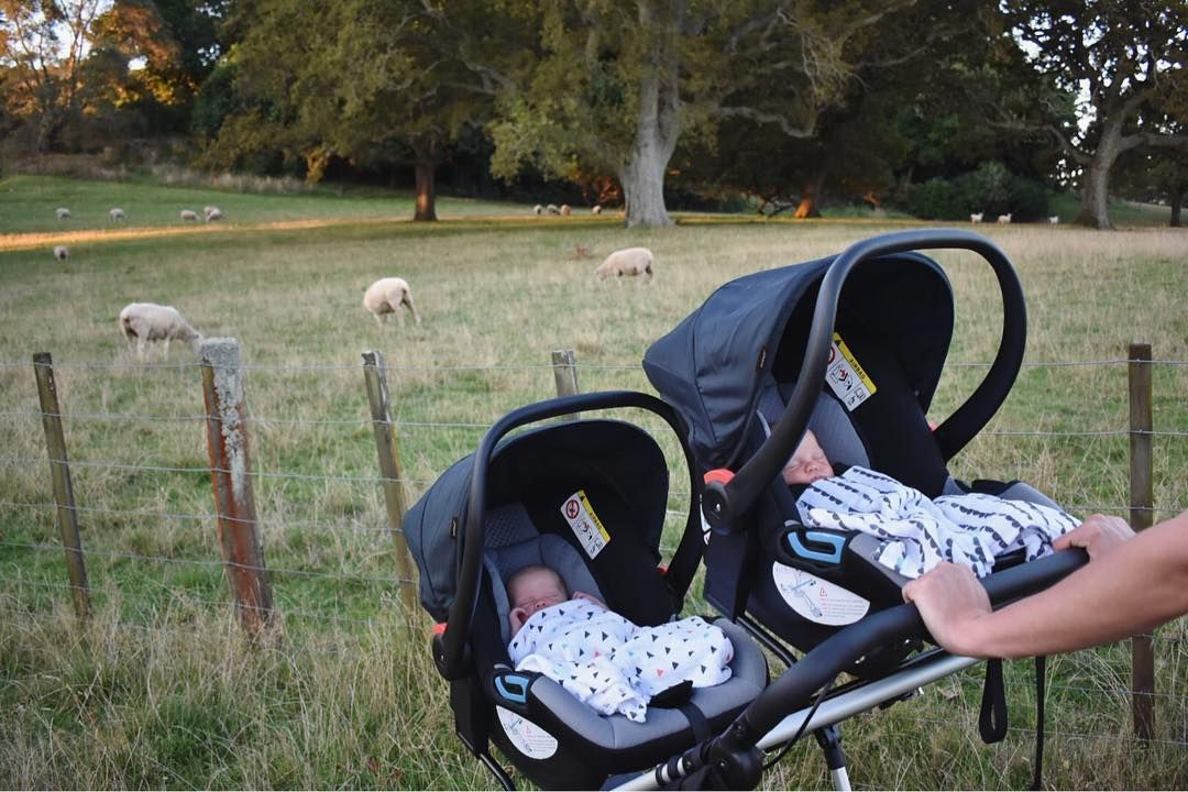Twin travel system perfection with a typical New Zealand