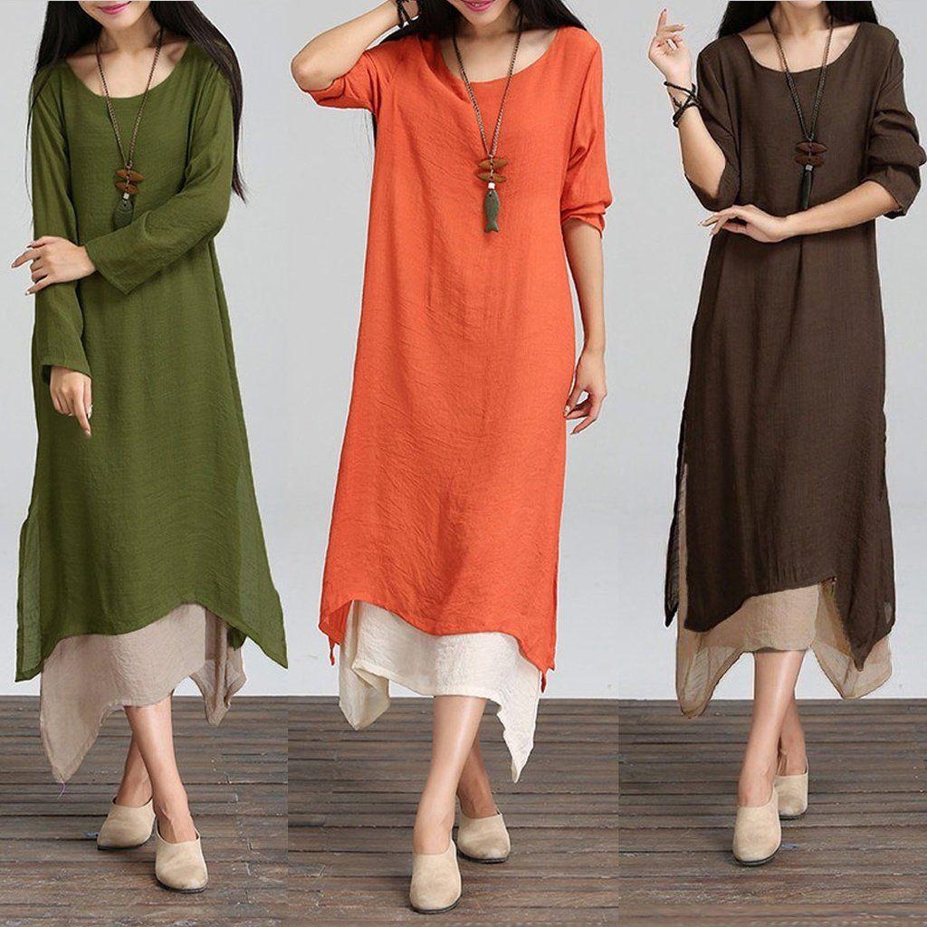 Women cotton linen vintage dress contrast double layer casual loose