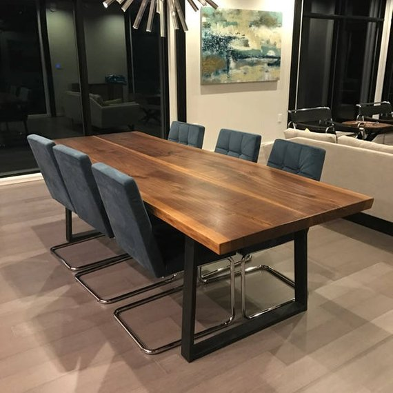 Beautiful Live Edge Dining Table Walnut With Modern Steel Legs