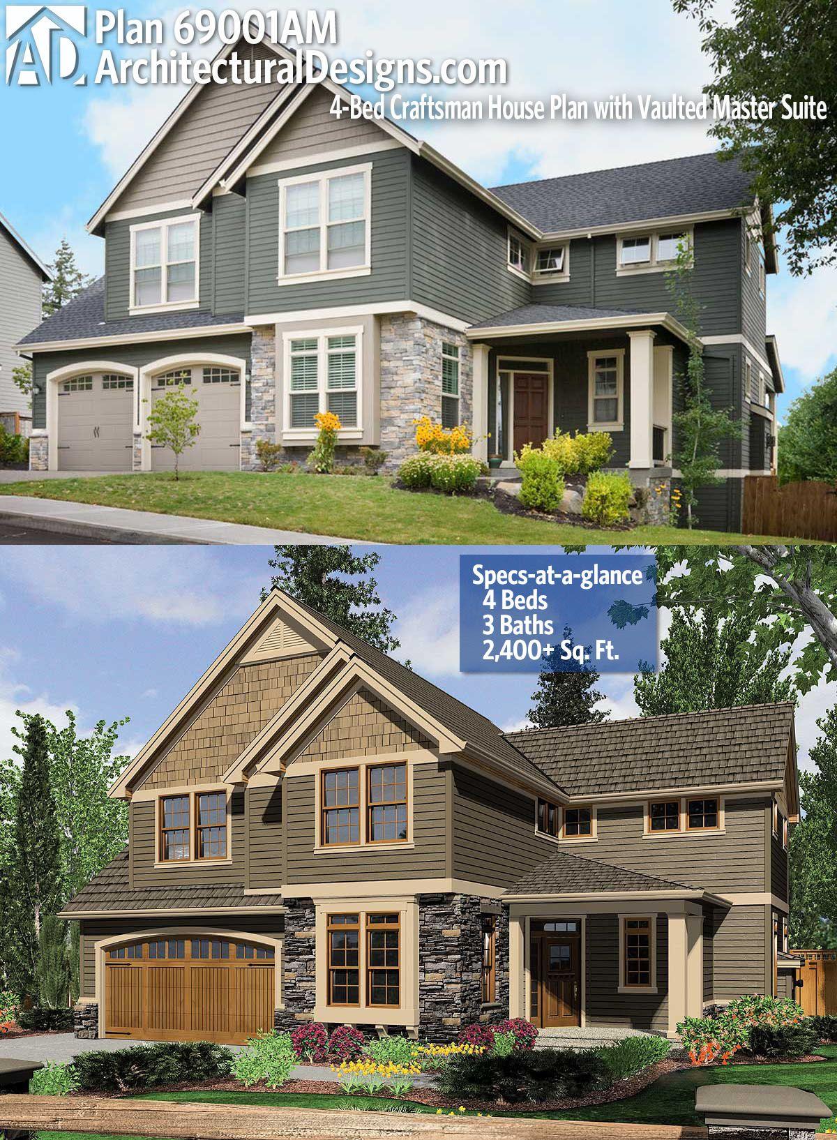 Architectural Designs Craftsman House Plan 69001AM
