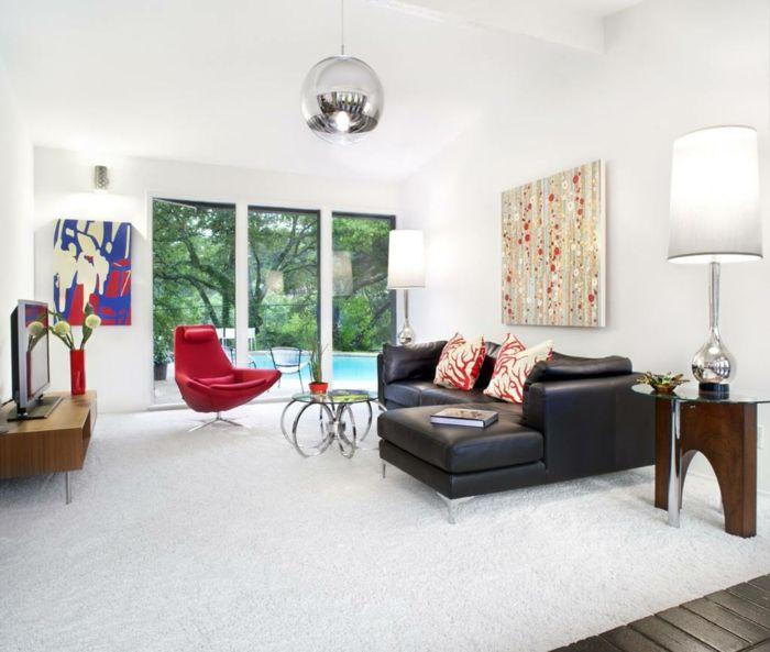 wohnzimmerteppich schwarz weiße streifen und grauessofa Wohnzimmer