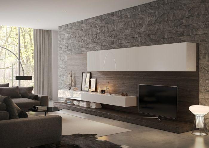 Fantastisch Graue Steinwand Wohnzimmer, Weiße Regale, Graue Wohnzimmermöbel