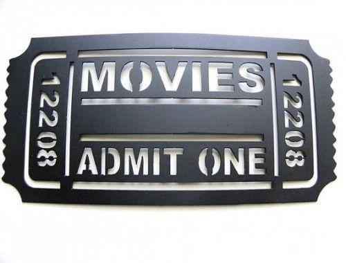 Home Theater Decor Movie Ticket 12208 Metal Wall Art by JNJ Metalworks eclectic artwork - man cave