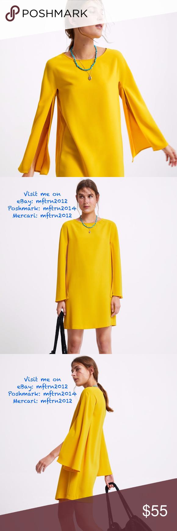 ZARA Yellow Mini Dress with Cape Sleeves Yellow mini shift ...