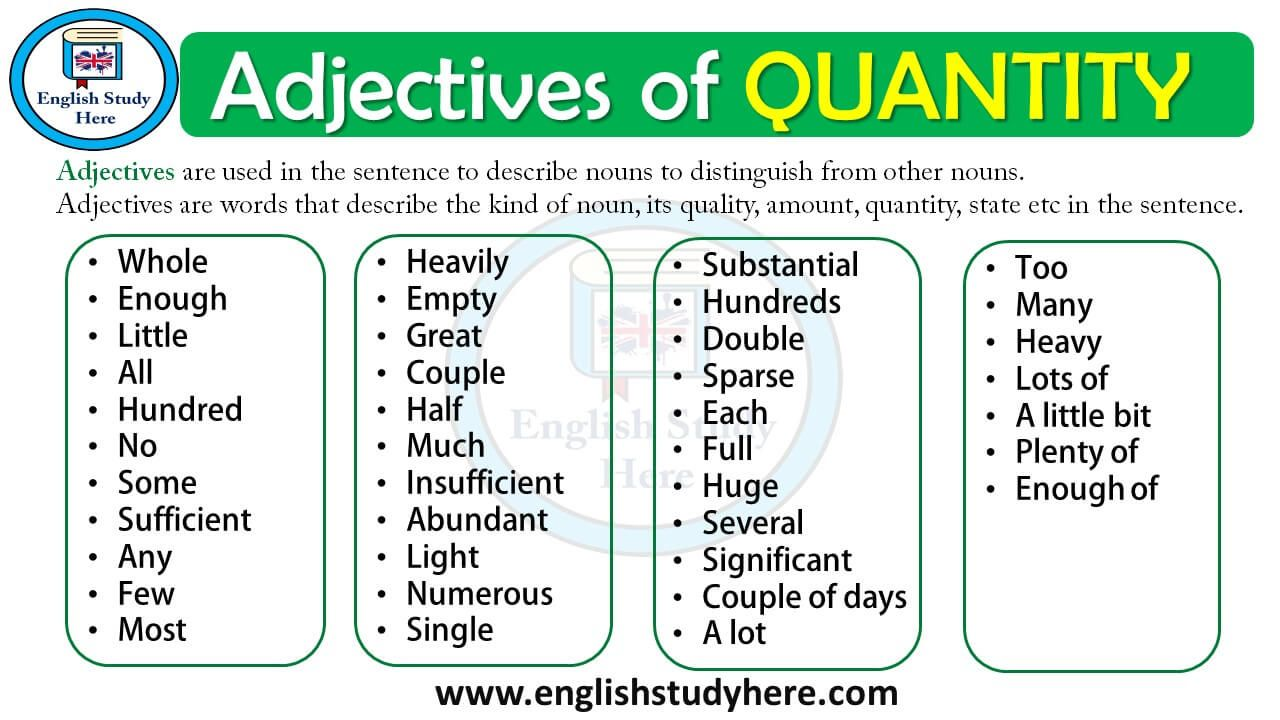 Adjectives Of Quantity English Study Here English Study Adjectives Learn Portuguese