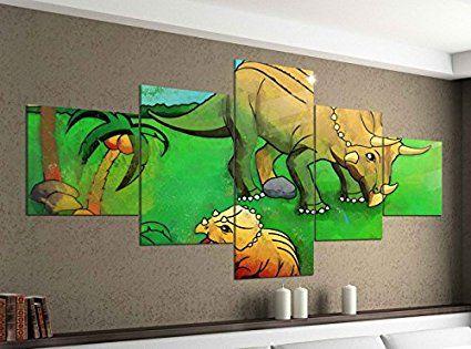 Leinwandbild 5 tlg. 200cmx100cm Dino Dinos Kinderzimmer