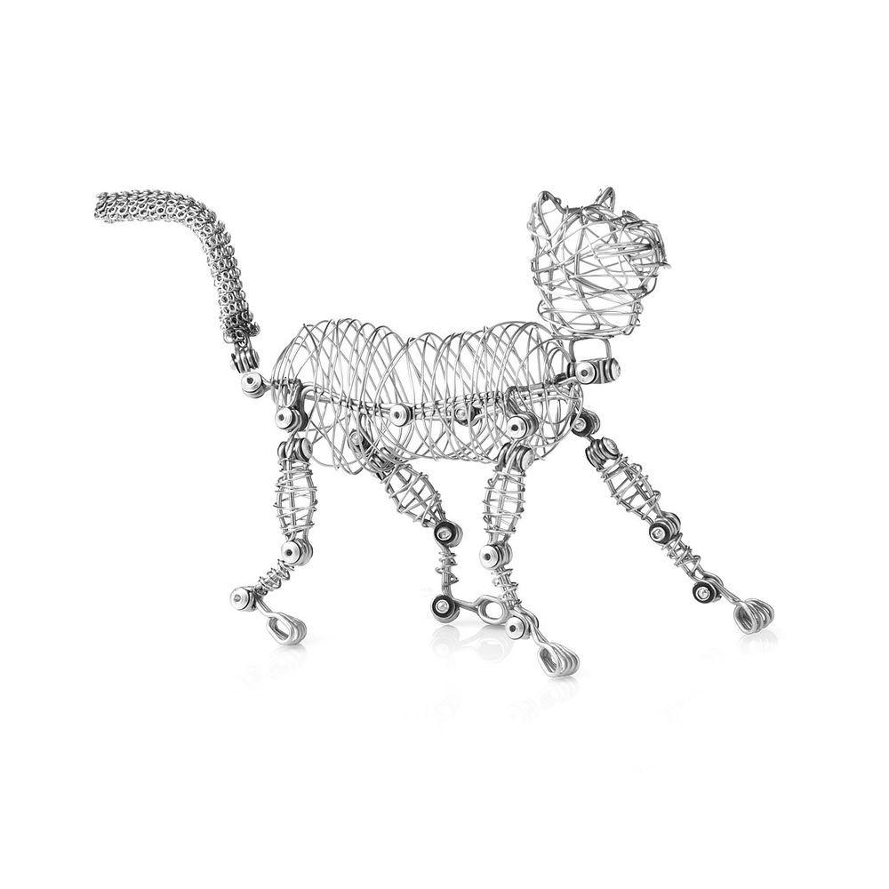 Halloween Wire Cat Bendable Fur Sculpture Figurine Art Pet Statue ...