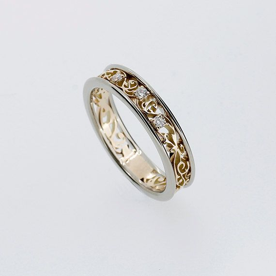 Two Tone Filigree Ring With Diamonds Yellow Gold Wedding Band Diamond Engagement White Gold Ring Unique Filigree Wedding Vintage Filigree Wedding Ring Diamond Wedding Bands White Gold Rings