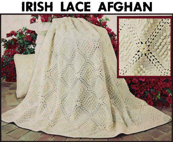 PDF of vintage crochet pattern, Irish Lace Afghan, easy to make 50 x 68 size, from 48 - 8 squares, popcorn stitch #irishlacecrochetpattern