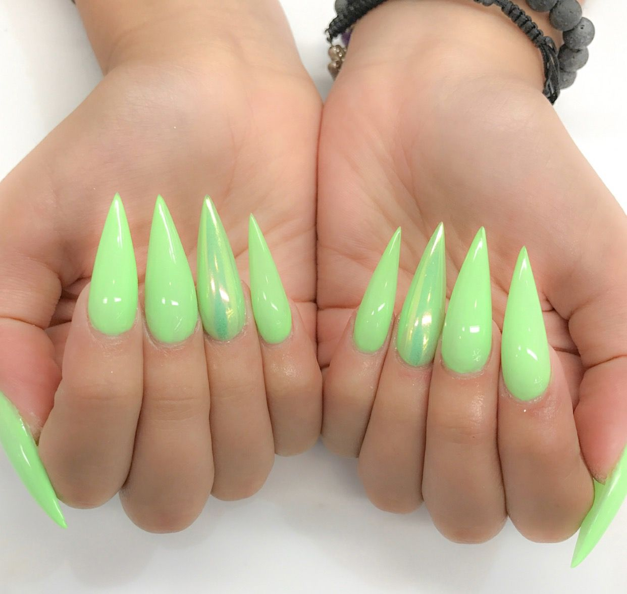 Fluorescent Bright Neon Green Holographic Chrome Long Stiletto Nails