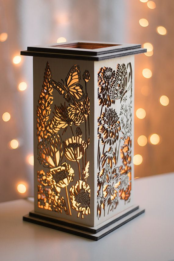 Butterfly Wildflower Patterned Tabletop Lantern Girl S Room Lamp Nature Decor Floral Design Wooden Table Light Wooden Lamp Wooden Lanterns
