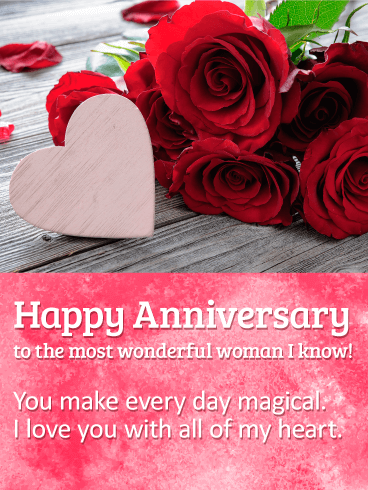 To The Most Wonderful Woman Happy Anniversary Card Birthday Greeting Cards By Davia Happy Anniversary Cards Happy Anniversary Anniversary Cards