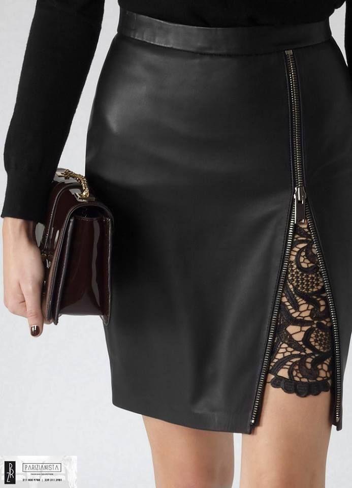 2851-Μαύρη δερματίνη φούστα με δαντέλα και φερμουάρ  2b4e8caa516
