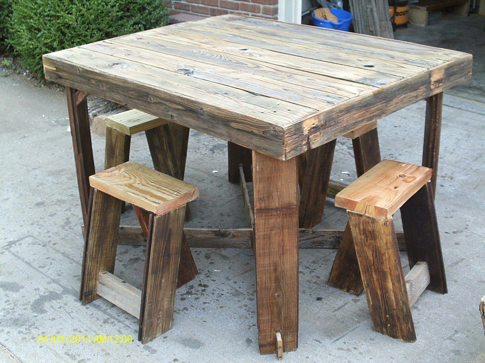 Handmade Rustic Log Furniture Pub Style Table And Stool Set