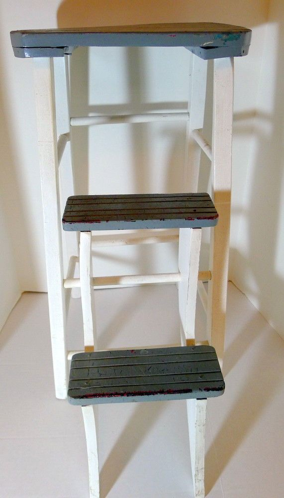 Primitive Wood Step Ladder White Gray Country Kitchen 24 1/2\